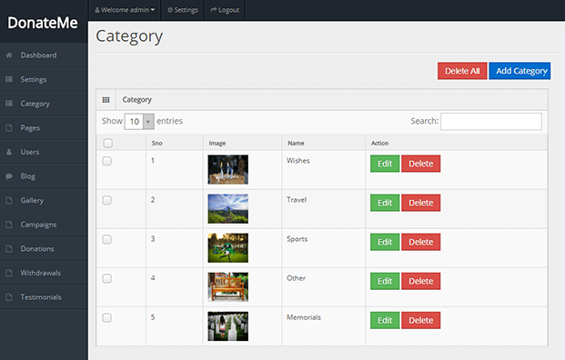 Categories - Crowdfunding Script PHP
