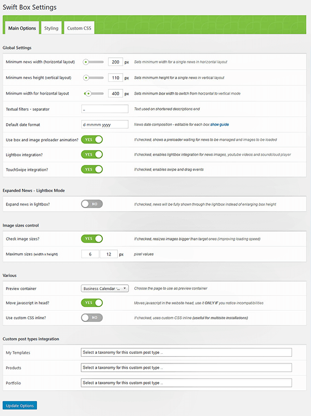 Settings- WordPress Content Slider Plugin
