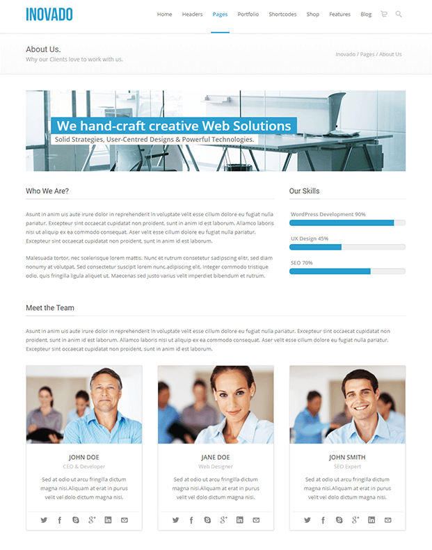 About Us - Customisable WordPress Theme