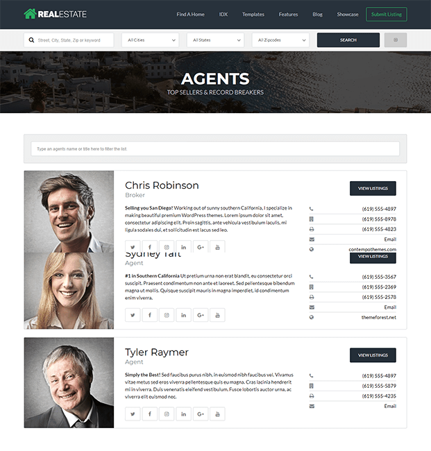 Agents - Real Estate WP Theme