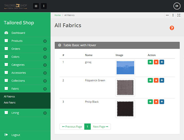 Fabrics - Tailor Shop Software