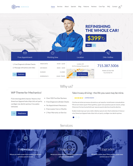 WordPress Auto Repair Theme