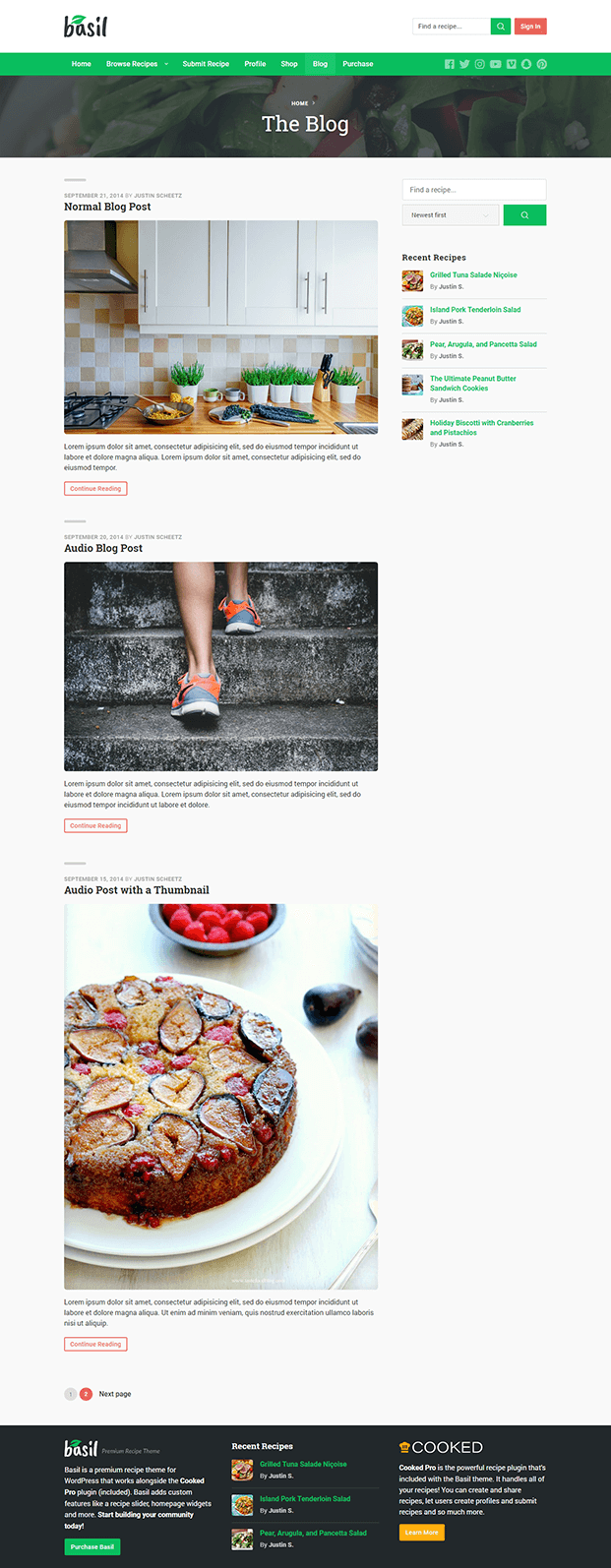 Blog - Recipe WordPress Theme