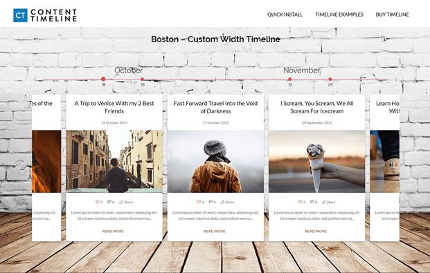 Boston Custom Width Timeline - Timeline WordPress Plugin