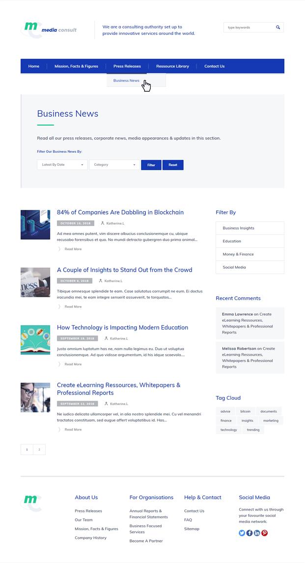 News - Consulting Business WordPress Theme
