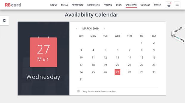 Calendar - Responsive vCard WordPress Theme