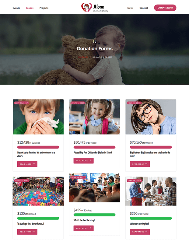 Causes - WordPress NGO Theme