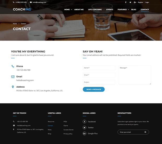 Contact - Coaching WordPress Theme