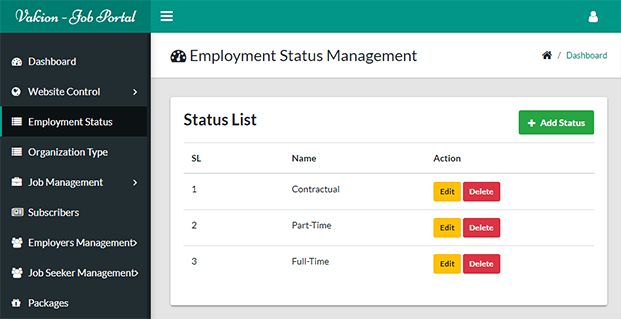 Employment Status - Job Search Engine PHP Script