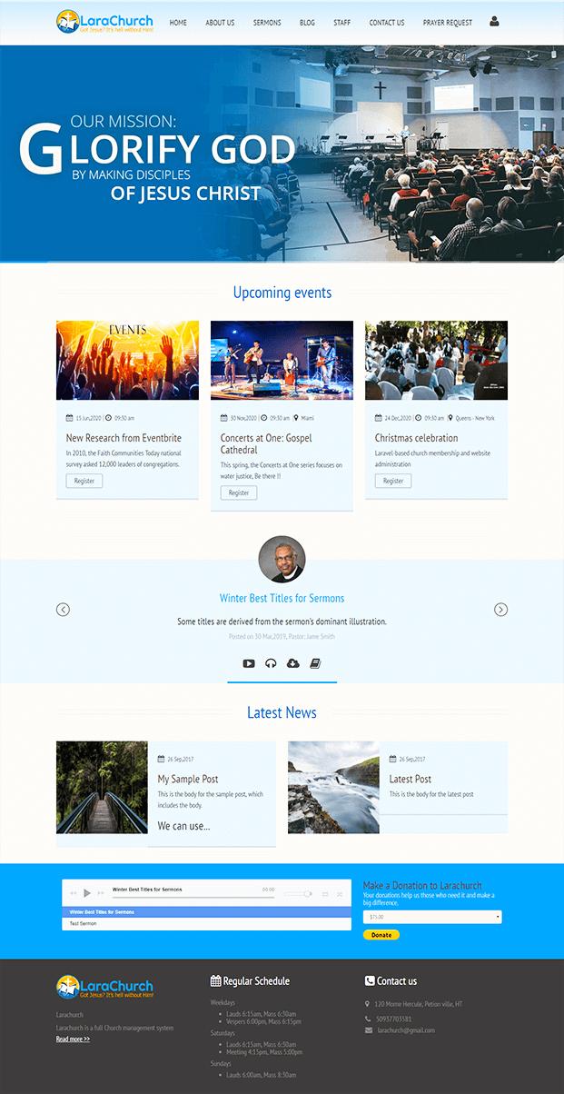 Homepage - PHP Church Website Script