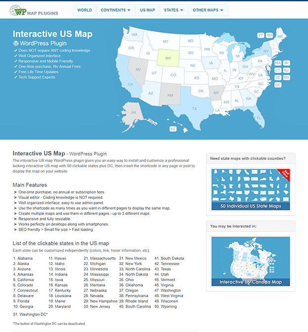 Interactive US Map - WordPress Plugin | InkThemes