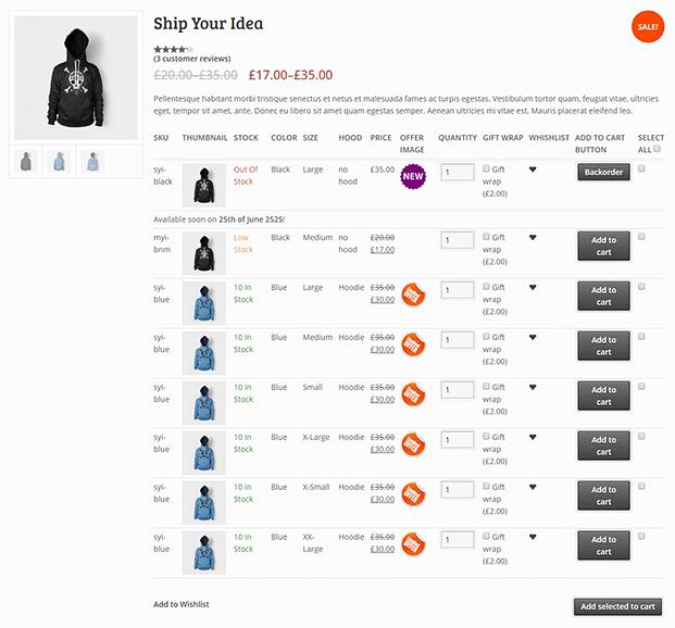 Ship Your Idea - WooCommerce Variations Plugin