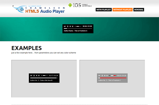 Without Playlist - Audio Player WP Plugin