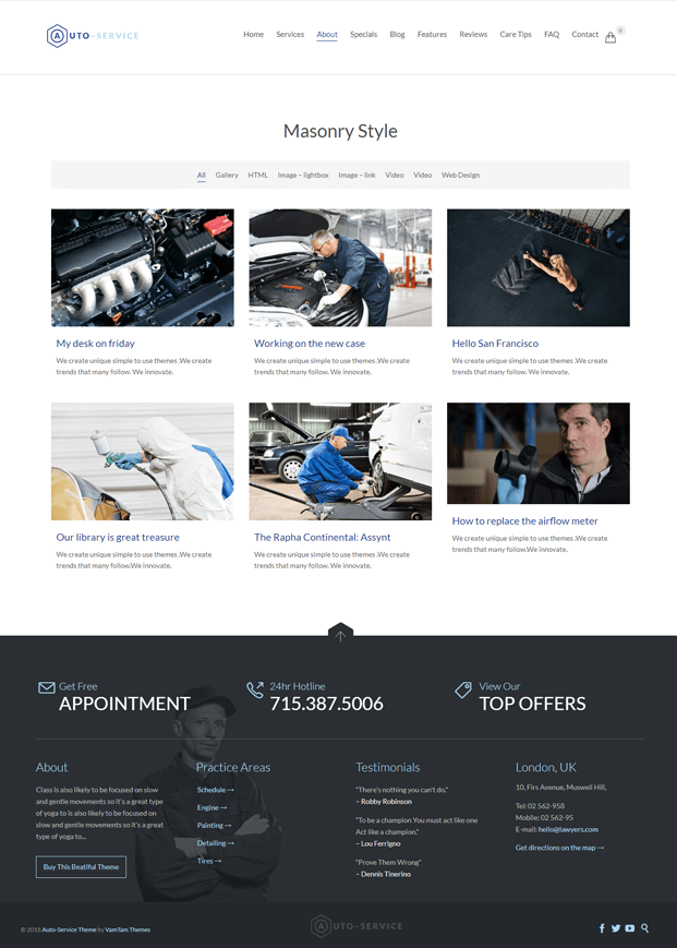About - WordPress Auto Repair Theme