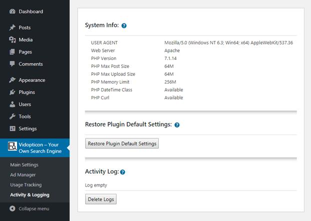 Activity And Logging - WordPress Custom Video Search Plugin