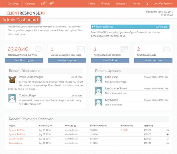Dashboard - Client Management PHP Script