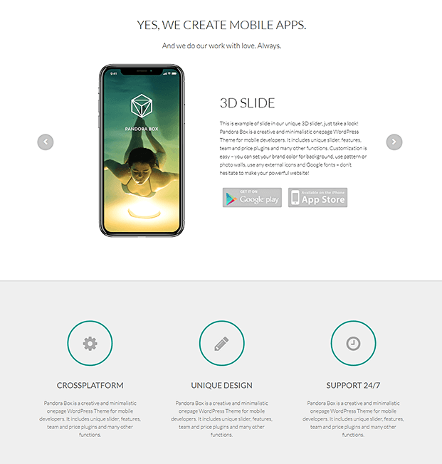 App And Feature - WordPress Single Page Theme