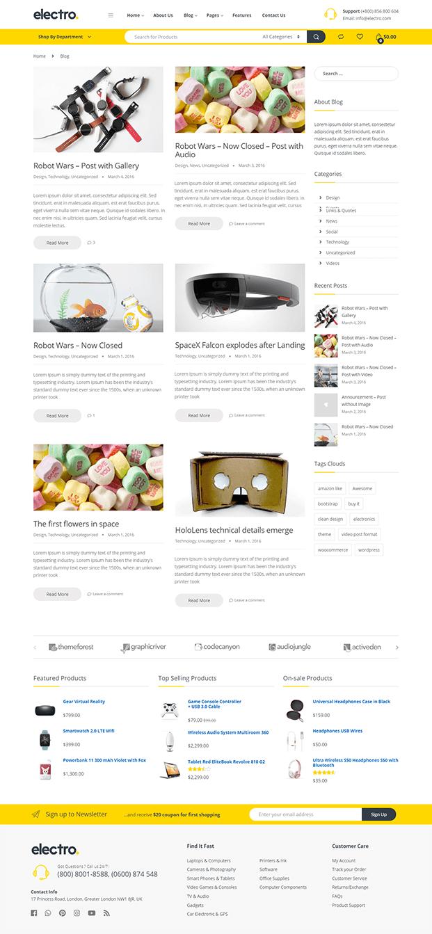 Blog - Electronic WordPress Theme