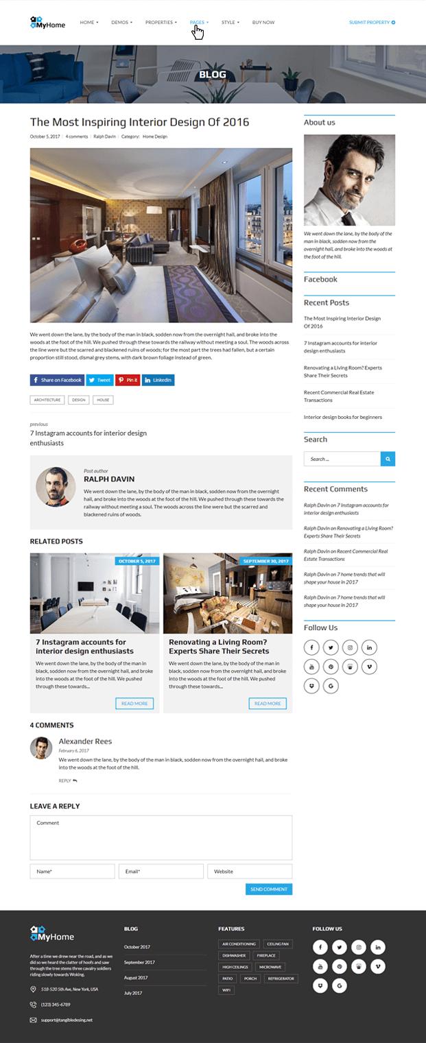 Blog - Real Estate Agency WordPress Theme