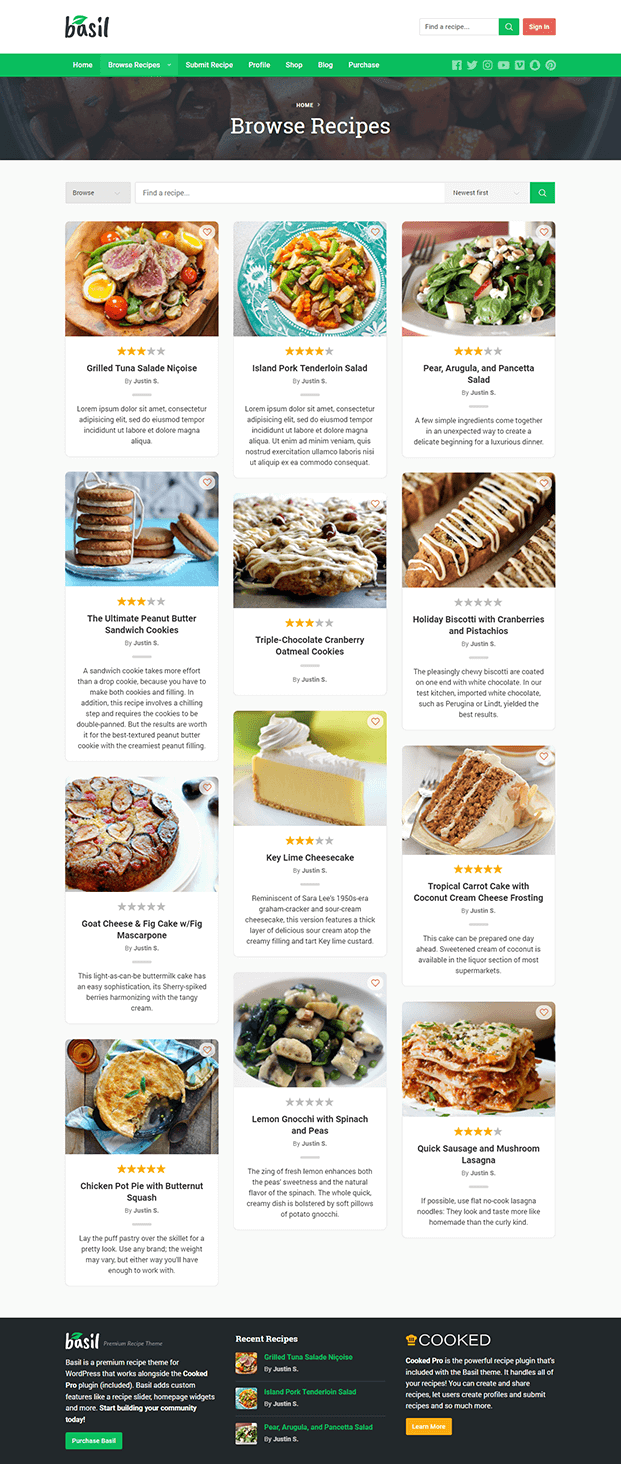 Browse Recipe - Recipe WordPress Theme