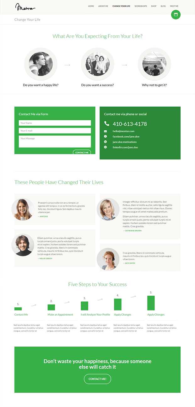 Contact - WordPress Theme For Life Coach