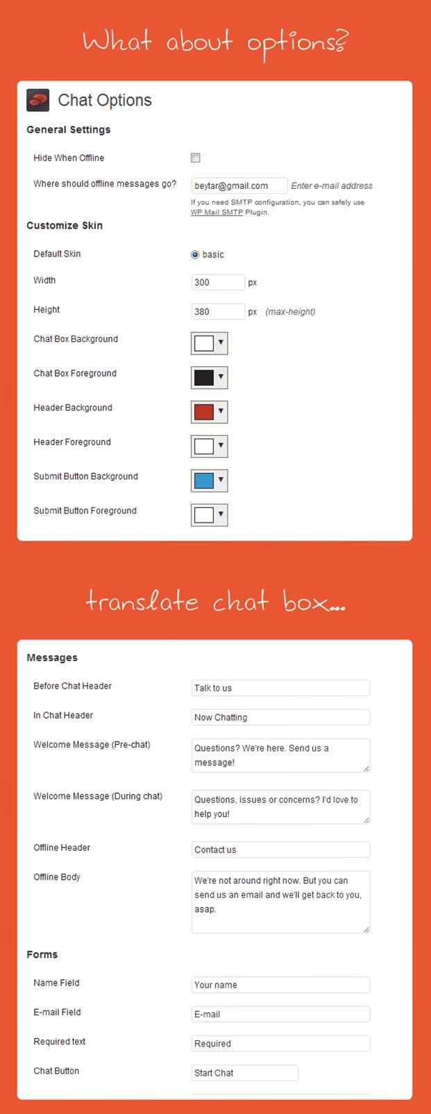 Live Chat WordPress Plugin - Setting Panel