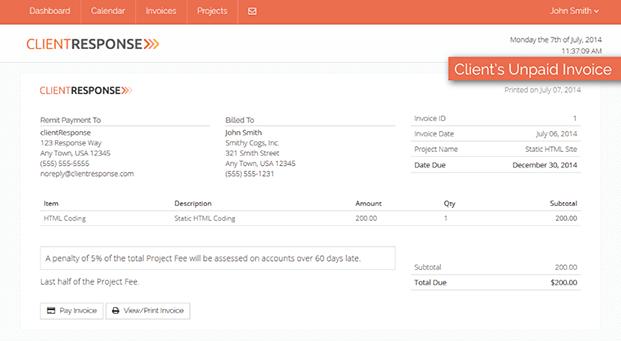 Client Invoice - Client Management PHP Script