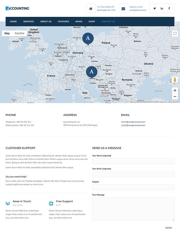 Contact Us - Accountant WordPress Theme