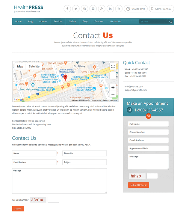Contact Us - WordPress Theme For Health