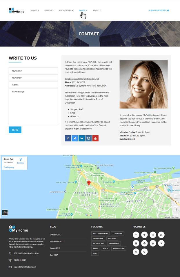 Contact - Real Estate Agency WordPress Theme