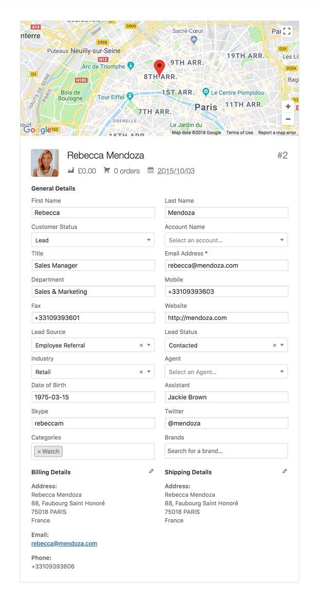 Customer Details - WooCommerce CRM Plugin