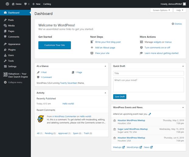 Dashboard - WordPress Custom Video Search Plugin
