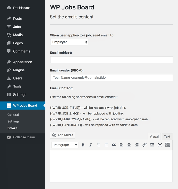Emails - WordPress Plugin For Job Portal
