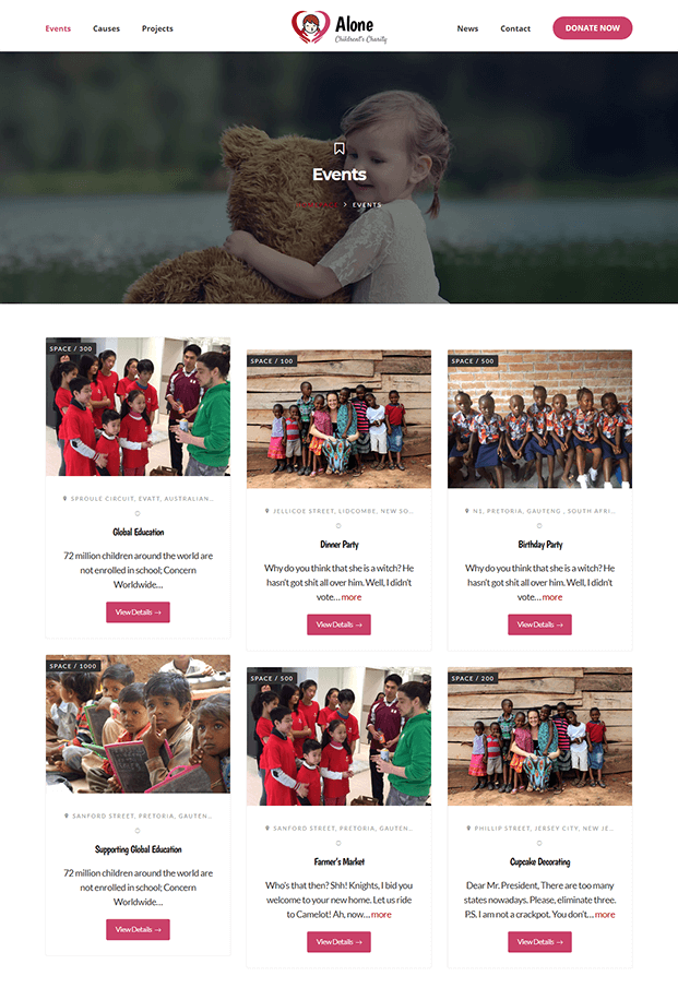 Events - WordPress NGO Theme