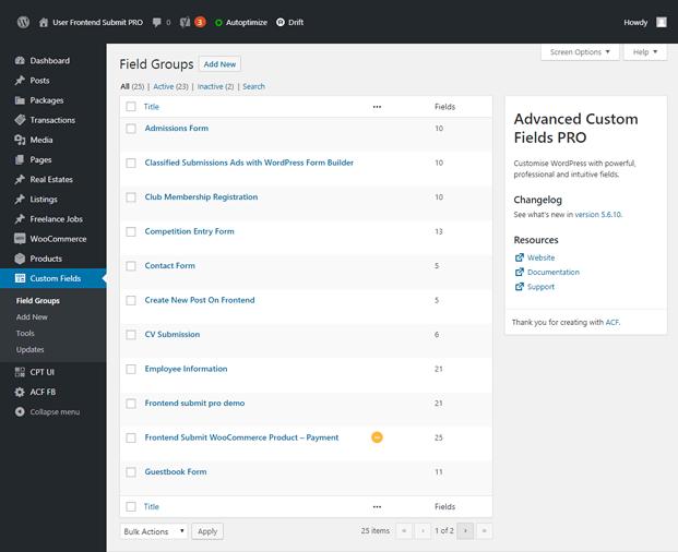 Field Groups - Frontend Post WordPress Plugin