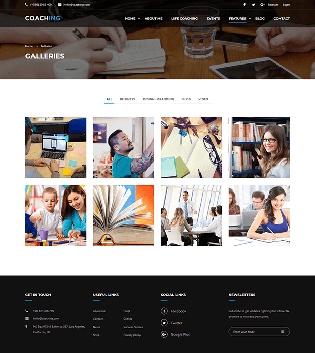 Galleries - Coaching WordPress Theme