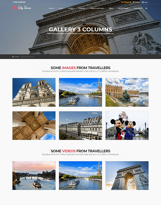 Gallery 3 Columns - Tour Booking WordPress Theme