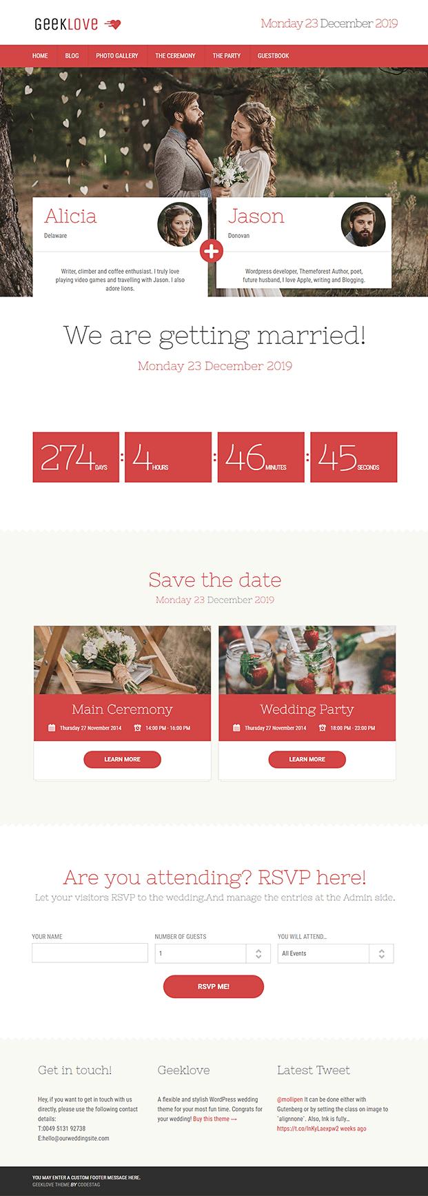 Home - Responsive Wedding WordPress Theme