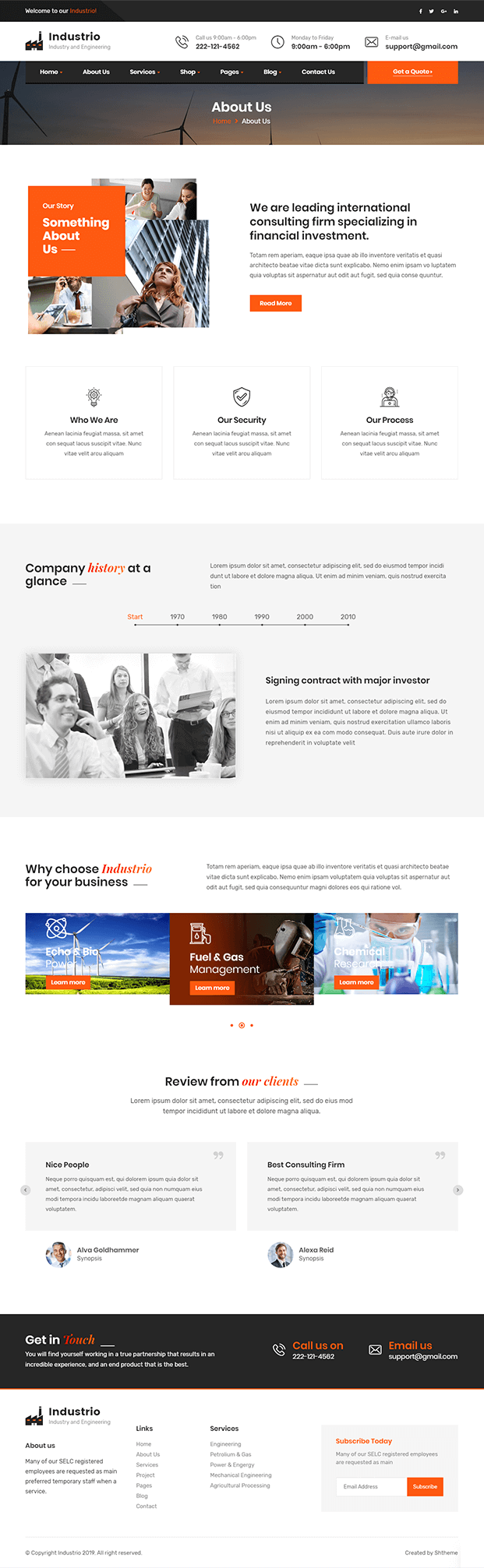 About Us - Manufacturing WordPress Theme