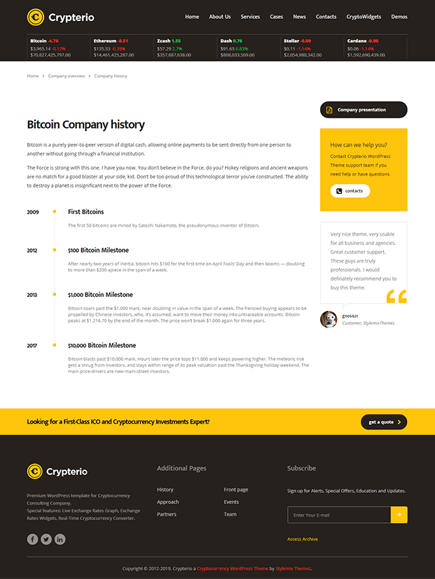 History - Cryptocurrency WordPress Theme