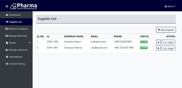 Supplier List - PHP Pharmacy Management System
