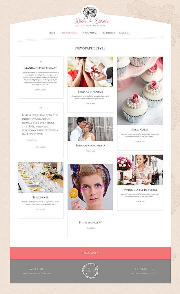 Newspaper Style - WP Wedding Theme