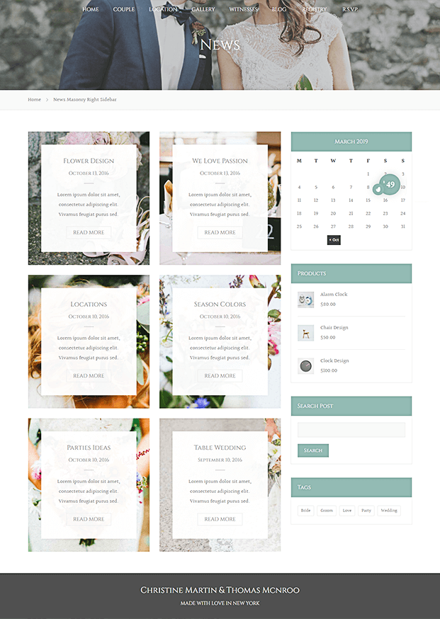 News - WordPress Theme For Wedding Planner