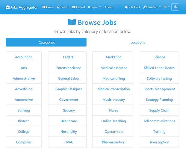 Jobs Categories Job Search Engine Script