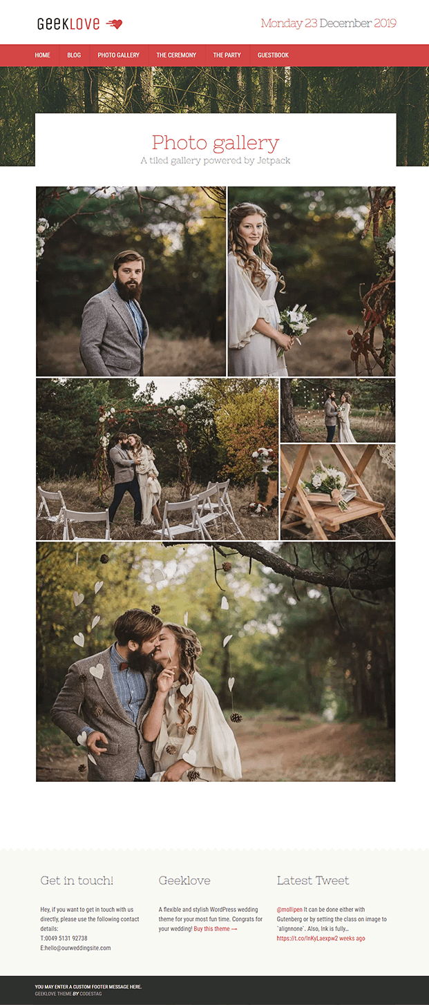 Photo Gallery - Responsive Wedding WordPress Theme