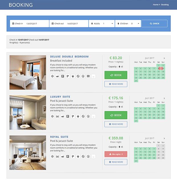 Hotel Availability - Hotel Booking CMS