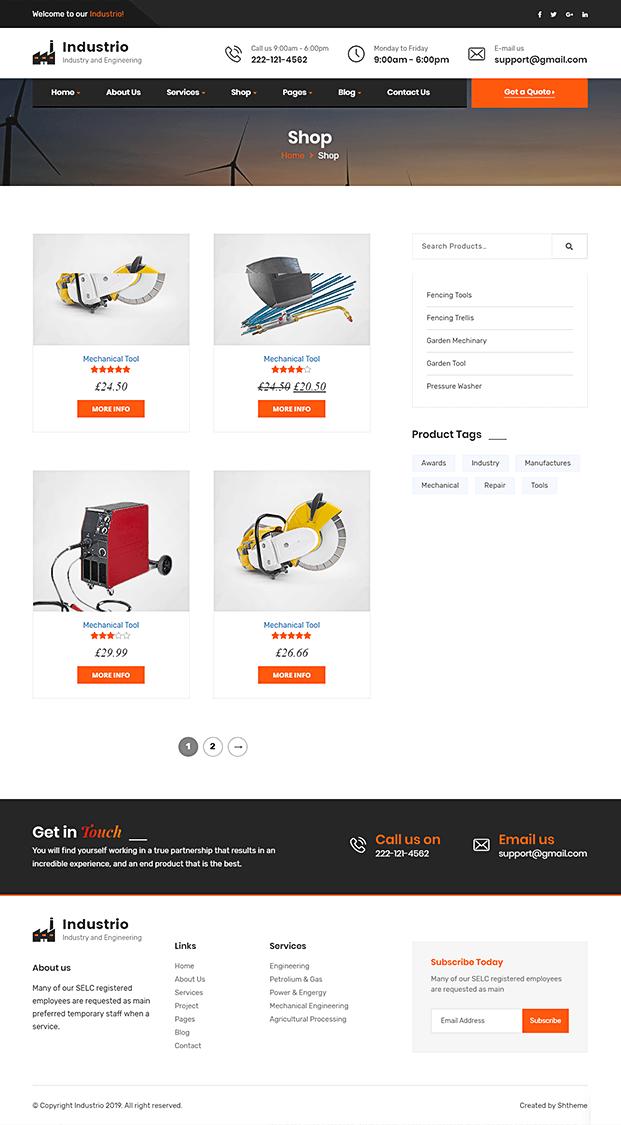 Shop - Manufacturing WordPress Theme