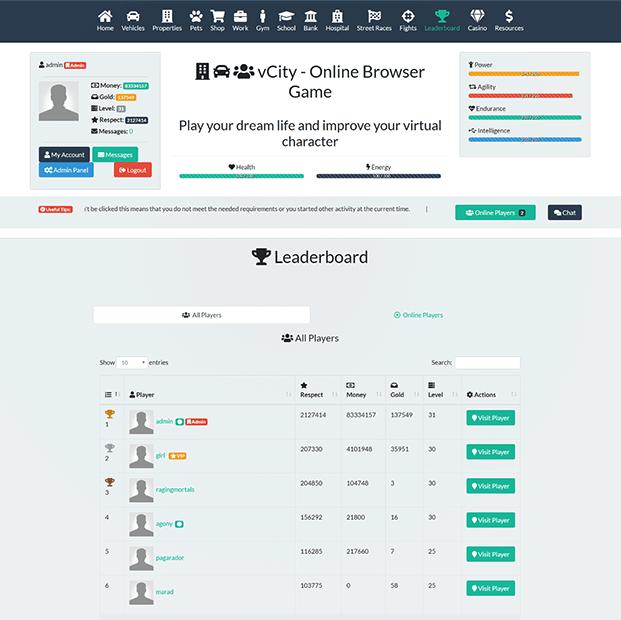 Leader-board  -  Browser Game Script
