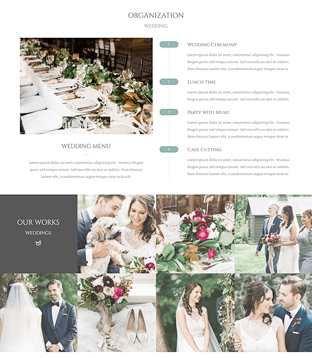 Wedding Menu - WordPress Theme For Wedding Planner
