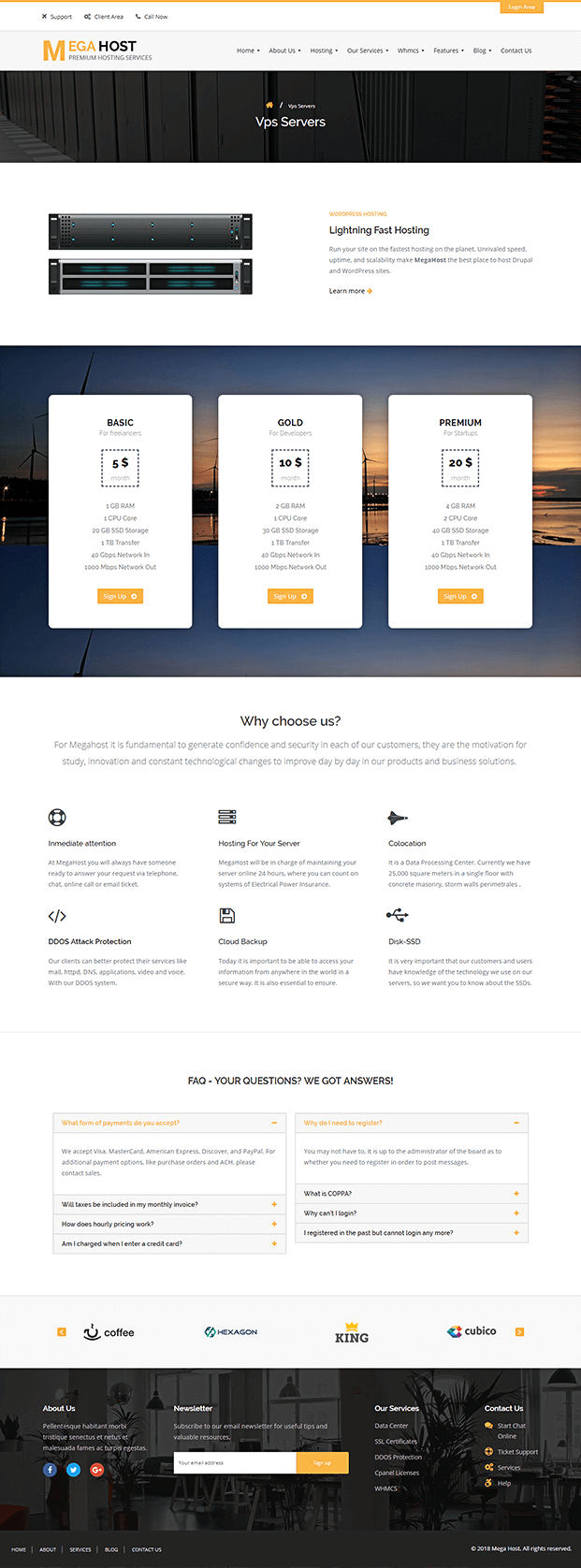 Services - WP Hosting Theme